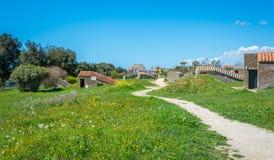 Tarquinianecropool in een zonnige de lenteochtend, provincie van Viterbo, Lazio royalty-vrije stock fotografie