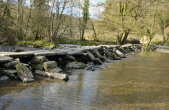 Tarr Steps & River Barle Stock Photo