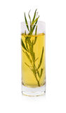 Tarragon in a glass with olive oil, one of the four fines herbes of French cooking  on a white background. Royalty Free Stock Photo