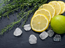 Tarragon with lemon, sugar and lime Stock Image
