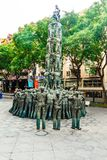Tarragona, Ισπανία στις 8 Σεπτεμβρίου 2018: Μια άποψη της νόσου του Alsheimer Castellers μνημείων στοκ φωτογραφία με δικαίωμα ελεύθερης χρήσης
