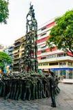 Tarragona, Ισπανία στις 8 Σεπτεμβρίου 2018: Μια άποψη της νόσου του Alsheimer Castellers μνημείων στοκ εικόνα με δικαίωμα ελεύθερης χρήσης