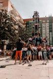 Tarragona, Ισπανία στις 9 Σεπτεμβρίου 2018: Τα colles castelleres είναι στην κατάρτιση στοκ φωτογραφία με δικαίωμα ελεύθερης χρήσης