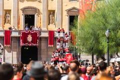TARRAGONA, ΙΣΠΑΝΙΑ - 17 ΣΕΠΤΕΜΒΡΊΟΥ 2017: Οι διακοπές Tecla Santa, εκείνοι οι χαρακτηριστικοί καταλανικοί ανθρώπινοι πύργοι εκτελ στοκ φωτογραφία με δικαίωμα ελεύθερης χρήσης