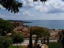 Tarragona amfiteater - sikt över havet arkivfoto