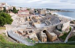 Tarragona ancient roman amphiteather of Tarraco Roman City. View of Tarraco`s roman amphitheatre ruins in Tarragona, Catalonia, Spain. Part of World Human Royalty Free Stock Photos