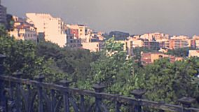 Tarragona Balcon del Mediterraneo overlook. Waterfront street Rambla Nova of Tarragona city. leading to Balcon del Mediterraneo overlook. Aerial view of stock video