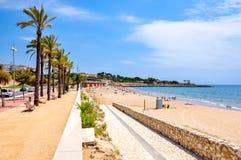 Tarragona beach and promenade, Spain stock photos