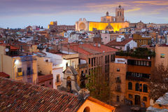 Tarragona with Cathedral in evening time. Spain Royalty Free Stock Photography
