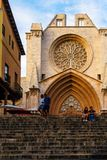 The façade of Tarragona Cathedral in a summer day. The Tarragona Cathedral in a summer day stock images