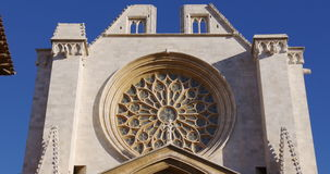 Tarragona cathedral sun light close up 4k spain stock video