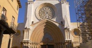 Tarragona cathedral sun light main entrance 4k spain stock footage