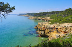 Tarragona coast, Spain. A view of different coves in Bosc de la Marquesa, Tarragona, Spain stock photos