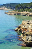 Tarragona coast, Spain. A view of different coves in Bosc de la Marquesa, Tarragona, Spain Stock Images
