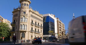 Tarragona crossroad in sun light 4k spain stock video
