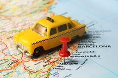 Tarragona de la Plana map pin taxi Stock Images