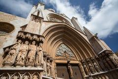 Tarragona domkyrkafasad Arkivfoto