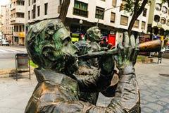 Tarragona, España 8 de septiembre de 2018: Un cierre para arriba en als Castellers del monumento en el ` s Rambla de Tarragona imagen de archivo libre de regalías