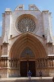 TARRAGONA HISZPANIA, AUG, - 28th, 2017: Jeden sławni miejsca gubernialny Tarragona Catedral De Santa Maria Fotografia Stock