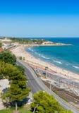 Tarragona kust som ser norr Arkivbilder