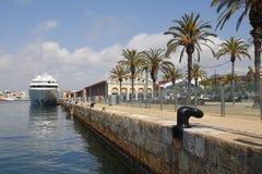 Tarragona recreative harbor. TARRAGONA, SPAIN - MAY 21, 2016: City view of Tarragona recreative harbor, with a luxury yacht moored on it, on May 21, 2016 in the stock photos