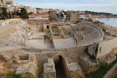 Tarragona roman amfiteater Arkivbilder