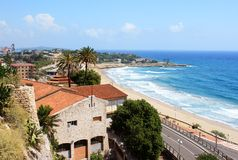 Tarragona seaside. And beach, Spain stock images