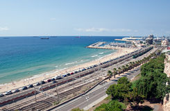 Sea port and reailway in Tarragona, Spain Royalty Free Stock Images