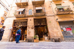 TARRAGONA, SPAIN - MAY 1, 2017: Souvenir shop in the street of the old city. Copy space for text. Stock Photos