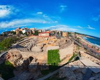Tarragona, Spain with sea and old roman theater Royalty Free Stock Images