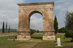 Triumphal arch of Augustus. TARRAGONA / SPAIN - SEPTEMBER 2014: Triumphal arch of Augustus near Tarragona, Spain Stock Photography