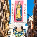 TARRAGONA SPANIEN - SEPTEMBER 17, 2017: Affischer av ferien Santa Tecla Kopiera utrymme för text royaltyfri bild