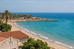 Tarragona strand Spanien Fotografering för Bildbyråer