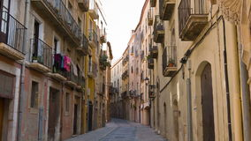 Tarragona street, establishing shot old town buildings. Tarragona City in Catalonia, Costa Daurada, Spain, shot in RAW 4K stock footage