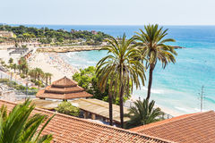 Tarragona. Summer day in Tarragona beach, Costa Dorada royalty free stock photos