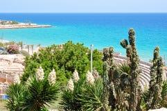 Tarragona zeegezicht en Roman Amphitheater, Spanje royalty-vrije stock foto