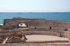 Ruinen des römischen Amphitheatre in Tarragona, Spanien Lizenzfreies Stockfoto