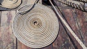Tarred hemp rope Stock Images