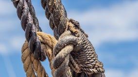 Tarred Hemp rope knot from a viking ship. Hemp rope rigging detail from a viking ship Royalty Free Stock Photography