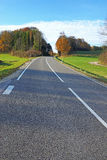 Tarred road. With white lines, trees in the background Royalty Free Stock Photo