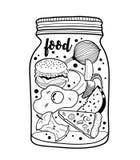 Tarro blanco y negro con los alimentos de preparación rápida y las frutas Foto de archivo