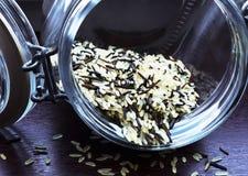 Tarro con arroz salvaje Fotos de archivo libres de regalías