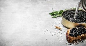 Tarro con el caviar y los bocadillos negros Fotos de archivo libres de regalías