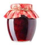 Tarro con la mermelada de fresa aislada Fotos de archivo libres de regalías