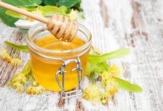 Tarro con la miel Foto de archivo