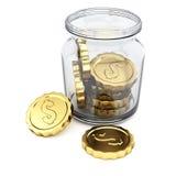 Tarro con las monedas Fotos de archivo libres de regalías