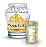 Tarro con las monedas; concepto de los ahorros de la universidad stock de ilustración