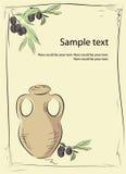 Tarro con las ramas de olivo Fotos de archivo libres de regalías