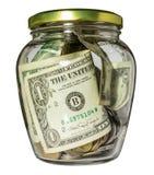 Tarro de cristal con el dinero Imagen de archivo libre de regalías