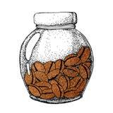 Tarro de cristal con los granos de caf?, frutas Para el dise?o del men?, fondos, impresiones, papeles pintados, caf? de los icono stock de ilustración